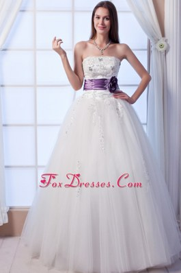 Popular Strapless Beading Flowers A-line Wedding Dress