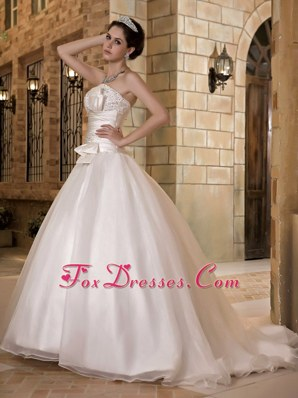 Sweep Organza Beading Popular Wedding Dress A-line