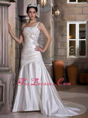 One Shoulder Chapel Popular Wedding Dress Appliques Ruch