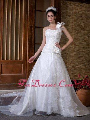 Appliques Flowers Wedding Dress Popular One Shoulder