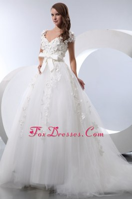 Popular V-neck A-line Chapel Wedding Dress Hand Made Flowers