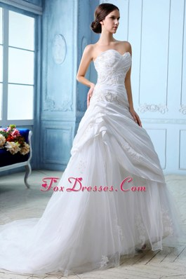 Popular Sweetheart Ruch Appliques Wedding Dress A-line