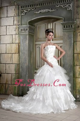 A-line Chapel Appliques Popular Wedding Dress Organza
