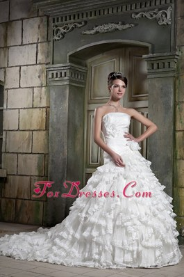 Chapel Hand Made Flowers Popular Wedding Dress A-line