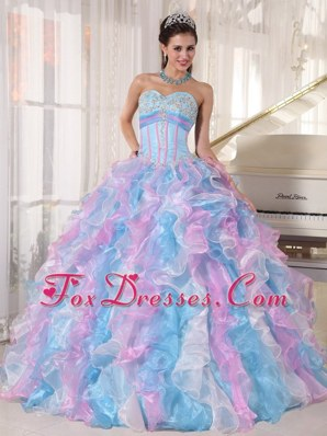 Multi-color Sweetheart Quinceanera Dress Appliques