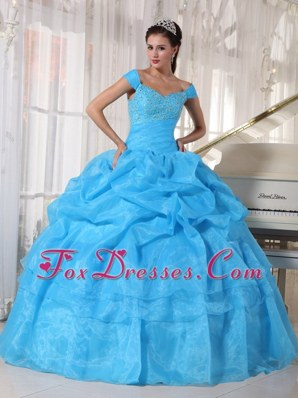 Blue Quinceanera Dress Off The Shoulder Beading