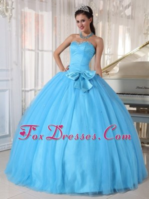 Aqua Blue Sweetheart Bowknot Quinceanera Dress