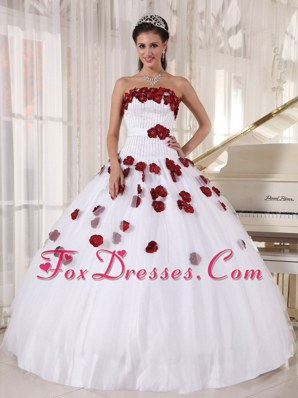 White and Wine Red Beading Flowers Quinceanera Dress