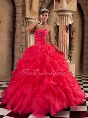 Coral Red Sweetheart Ruffles Quinceanera Dress