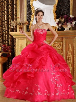 Coral Red Quinceanera Dress Strapless Embroidery
