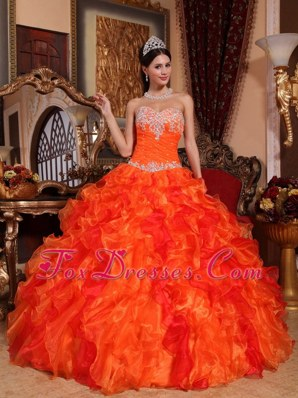 Orange Sweetheart Appliques Beading Quinceanera Dress