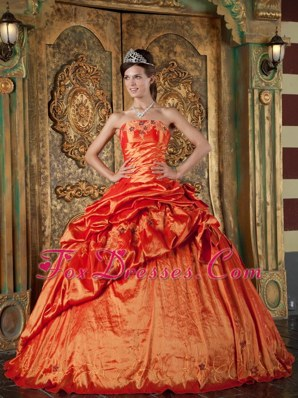 Strapless Pick-ups Orange Red Quinceanera Dress Taffeta
