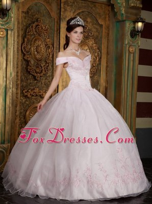 Off The Shoulder Appliques Quinceanera Dress Light Pink