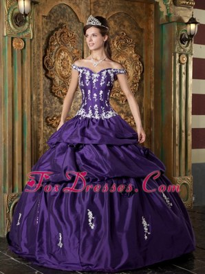 Purple Off The Shoulder Appliques Quinceanera Dress