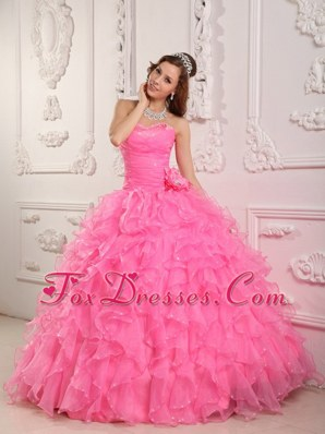 Sweetheart Rose Pink Quinceanera Dress Organza Beading