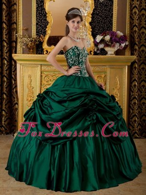2013 Dark Green Quinceanera Dress Taffeta Embroidery