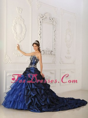 Royal Blue Layered Chapel Train Quinceanera Dress Appliques