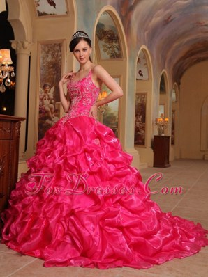 Spaghetti Straps Embroidery Quinceanera Dress Hot Pink Organza