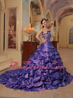 Court Train Pick-ups Purple Quinceanera Dress Taffeta Flowers