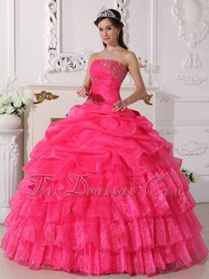 Layered Hot Pink Organza Quinceanera Dress Appliques for Sweet 16
