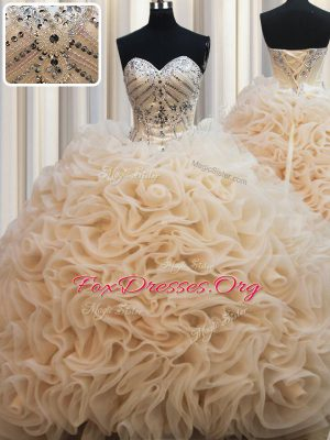 New Arrival Champagne Lace Up Vestidos de Quinceanera Beading Sleeveless Brush Train
