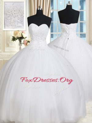 Sleeveless Floor Length Beading Lace Up Quinceanera Dress with White