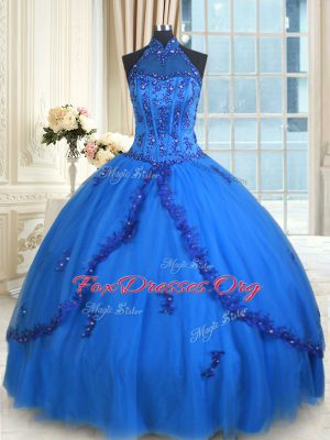 See Through Blue Ball Gowns Tulle Halter Top Sleeveless Beading and Appliques Floor Length Lace Up 15th Birthday Dress