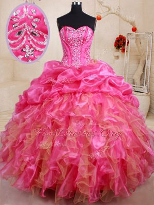 Unique Pick Ups Hot Pink Sleeveless Organza Lace Up Sweet 16 Quinceanera Dress for Military Ball and Sweet 16 and Quinceanera