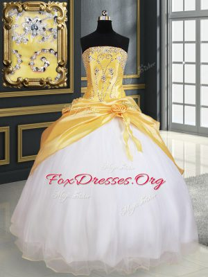 Unique Yellow And White Quince Ball Gowns Military Ball and Sweet 16 and Quinceanera and For with Beading and Pick Ups and Hand Made Flower Strapless Sleeveless Lace Up