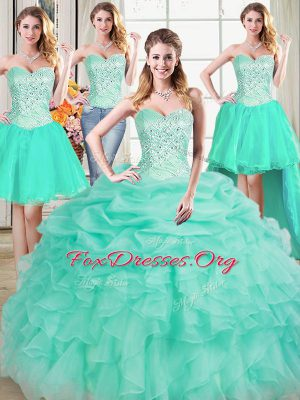Elegant Four Piece Floor Length Lace Up Sweet 16 Quinceanera Dress Apple Green for Military Ball and Sweet 16 and Quinceanera with Beading and Ruffles and Pick Ups