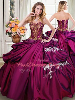 Sleeveless Taffeta Floor Length Lace Up Ball Gown Prom Dress in Burgundy with Beading and Appliques and Pick Ups
