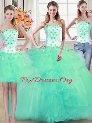 Luxurious Three Piece Turquoise Lace Up Strapless Beading and Appliques and Ruffles Quinceanera Dresses Tulle Sleeveless