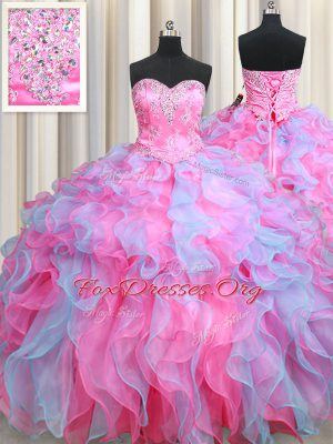 Extravagant Organza Sleeveless Floor Length Quinceanera Dresses and Beading and Ruffles