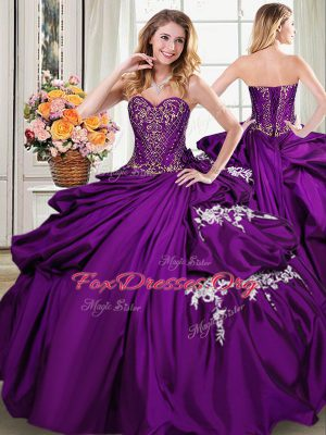 High Quality Purple Sleeveless Floor Length Beading and Appliques and Pick Ups Lace Up Quinceanera Gowns