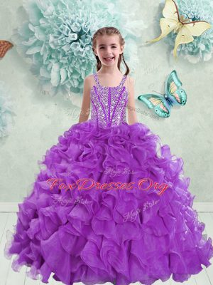 Fabulous Straps Eggplant Purple Sleeveless Beading and Ruffles Floor Length Party Dresses