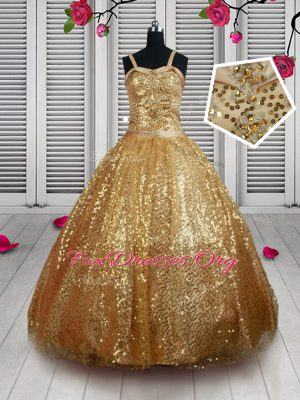 Straps Sleeveless Party Dresses Floor Length Beading and Sequins Gold Tulle