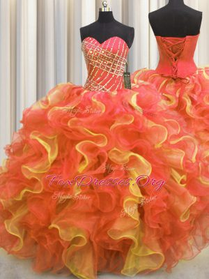 Multi-color Ball Gowns Beading and Ruffles Quinceanera Dress Lace Up Organza Sleeveless Floor Length