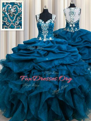 Zipple Up See Through Back Floor Length Teal Quince Ball Gowns Organza Sleeveless Beading and Ruffles and Sequins and Pick Ups