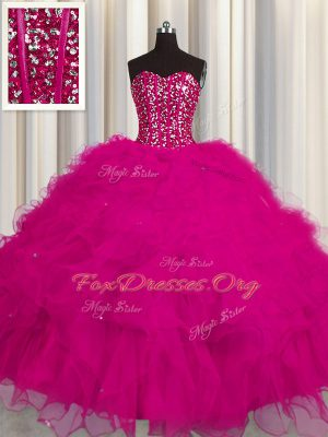 Graceful Visible Boning Sweetheart Sleeveless Sweet 16 Dress Floor Length Beading and Ruffles and Sequins Fuchsia Tulle