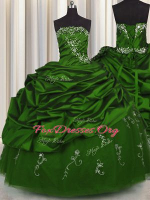 Pick Ups Embroidery Floor Length Green Sweet 16 Dress Strapless Sleeveless Lace Up