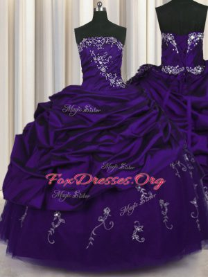 Floor Length Purple Quinceanera Gowns Taffeta Sleeveless Beading and Embroidery and Pick Ups