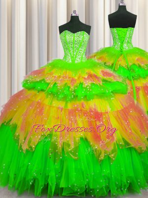 Custom Made Bling-bling Visible Boning Multi-color Tulle Lace Up Sweetheart Sleeveless Floor Length Quinceanera Dress Beading and Ruffles and Ruffled Layers and Sequins