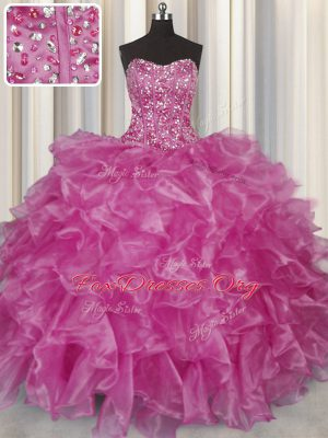 Fantastic Visible Boning Fuchsia Sleeveless Floor Length Beading and Ruffles Lace Up Quinceanera Dresses