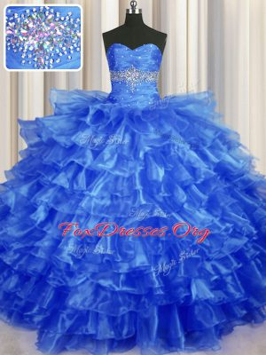 Royal Blue Ball Gowns Beading and Ruffled Layers Quinceanera Gowns Lace Up Organza Sleeveless Floor Length