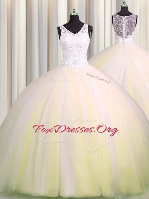 Zipple Up V Neck Sleeveless Tulle Brush Train Zipper 15 Quinceanera Dress in Light Yellow with Beading and Appliques
