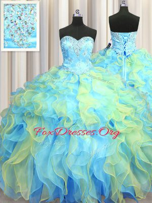 Multi-color Lace Up Sweet 16 Dress Beading and Appliques and Ruffles Sleeveless Floor Length
