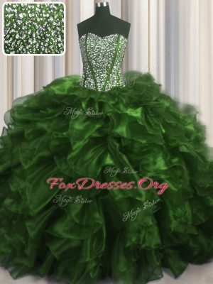 Visible Boning Organza Sweetheart Sleeveless Brush Train Lace Up Beading and Ruffles 15th Birthday Dress in Olive Green