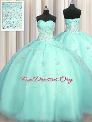 High End Really Puffy Beading and Appliques Quinceanera Gowns Turquoise Zipper Sleeveless Floor Length