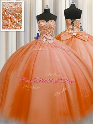 Adorable Puffy Skirt Orange Red Sleeveless Floor Length Beading Lace Up Sweet 16 Dress