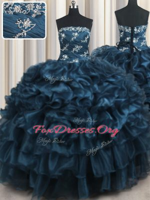 Strapless Sleeveless Vestidos de Quinceanera Floor Length Appliques and Ruffles and Ruffled Layers Navy Blue Organza